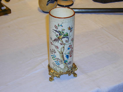 Longwy enamels roll-shaped vase