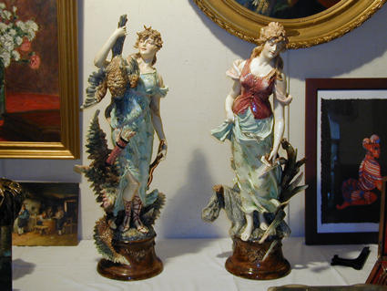 19th century earthenware statues