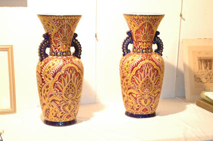 Exceptional pair of Longwy vases